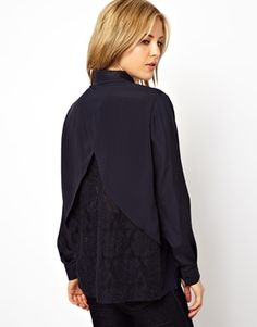 Image 1 of ASOS Blouse with Open Back and Lace Panels  @Lynne Hill Would this do instead of the beautiful American one? Not quite the same...
