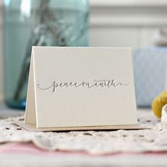 Letterpress Christmas Mini Greeting Card - Peace on Earth