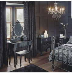 Image result for victorian gothic bedroom would be better with black floors