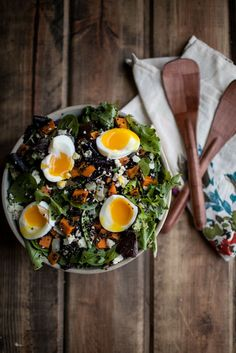 Sweet potato and quinoa salad with soft-boiled eggs. Gluten-free and meatless.