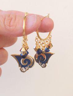 LA Rams Earrings, Rams Jewelry, Gold and Navy Crystal Hoop Earrings, Pro Football Rams Bling Accessory Fanwear by scbeachbling on Etsy