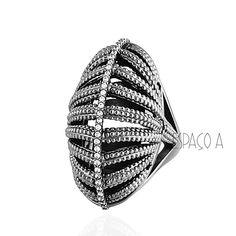 Maxi Anel Semijoia Palm Islands Texturizado Com Micro Zirconias Folheado Rodio Negro ( acessorios look - bijoux - anel - rings - aneis - moda - fashion )