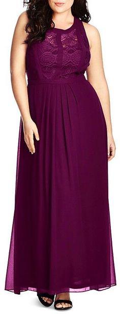 Plus Size Lace Inset Maxi Dress