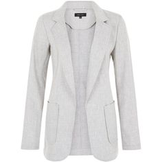 New Look Light Grey Linen Mix Patch Pocket Blazer ($36) ❤ liked on Polyvore featuring outerwear, jackets, blazers, light grey, open front blazer, workwear jacket, long sleeve blazer, linen blazer and blazer jacket