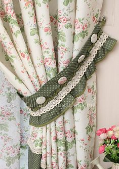 window coverings curtains of Floral and Polka Dot Printed Patterns with Lace