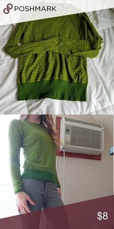 Awesome green striped sweater Crewneck striped lightweight sweater.  Looks great with skirts or pants. Maybe wear it on earth day Old Navy Sweaters Crew & Scoop Necks