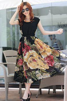 Bohemian Style Short Sleeve Long Chiffon Dress - Oh Yours Fashion - 8