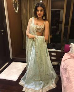 Mirror work lehenga for different wedding functions. Pakistani Dresses, Indian Dresses, Indian Outfits, Indian Clothes, Mirror Work Lehenga, Simple Lehenga, Lehnga Dress, Dress Indian Style, Indian Lehenga