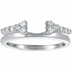 0.24ct Round Diamond Wrap In 14k White Gold with a double band aesthetic