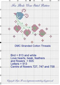 Happiness is Cross Stitching : Freebie Friday Birdie Valentine Cross Stitch Pattern Cross Stitch Love, Cross Stitch Cards, Cross Stitch Designs, Cross Stitching, Cross Stitch Embroidery, Christmas Embroidery Patterns, Cross Stitch Freebies, Needlepoint Designs, Christmas Cross