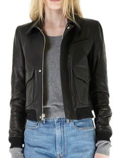 Captivating Women Leather Bomber for super style.  Features long sleeves with knit ribbed cuffs and hem