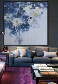 Abstract Flower Oil Painting #LX35A, Floral art canvas painting, hand painted painting on canvas by CZ Art Design @CelineZiangArt