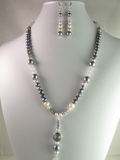 Peacock freshwater pearls with crystals by NaturesJewelsByVina, $59.99