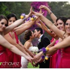 Weddbook ♥ Lovely wedding photo idea. Unique and creative bridesmaid photography idea. Wedding kiss photography kiss
