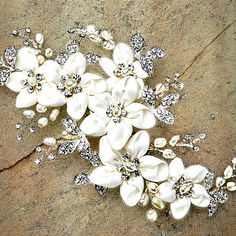 Bridal hair clip Bridal headpiece Flower headpiece Rhinestone hair clip Wedding…