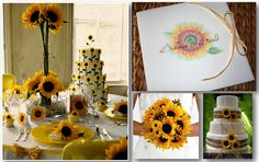 """Sunflower Wedding Theme  """"A unique and quite beautiful flower is the sunflower; it's many people's favorite flower. If it's yours here are some summer wedding theme ideas for a sunflower wedding; use them or let them help you to come up with your own ideas."""" - Bridal Cookie"""