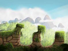 A concept art for a platform game. #background #game #green #nature #platformer #art #2dgameart #gamebackground #platform #platformergame #gameartconcept
