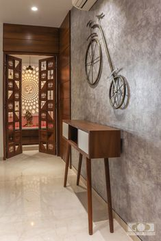 An Apartment Interior With Contemporary And Minimalist Functions Pooja Room Door Design, Door Design Interior, Foyer Design, Home Room Design, Interior Design For Apartments, Home Decor Ideas, Home Decor Furniture, Ethnic Home Decor, Indian Home Decor