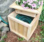 Hose Hiding Planter, planters,planter boxes,garden hose holders,diy,free woodworking plans,free projects,do it yourself