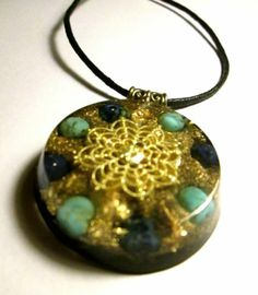 Throat Chakra Orgone Pendant / Orgonite with Gold Flake - Handmade   eBay
