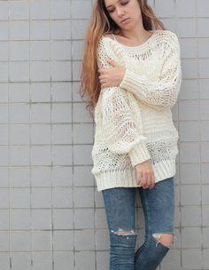 Hand knit sweater wool woman sweater long sweater от MaxMelody