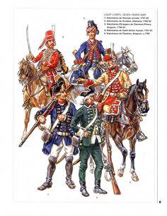 French; Seven Years War, Light Corps. 1. Volontaires de Hainaut, Private 1757-62. 2. Volontaires de Soubise, Chasseur 1762-63. 3. Volontaires Etranger de Clermont Prince, Dragoon 1758-63. 4. Volontaires de Saint Victor, hussar 1761-63 & 5.Volontaire de Flandres, Dragoon 1762.