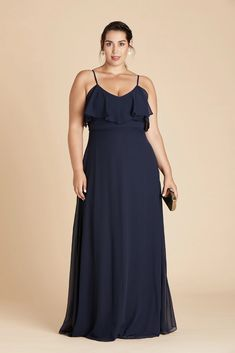 Jane Plus Size Convertible Chiffon Bridesmaid Dress in Navy – Birdy Grey