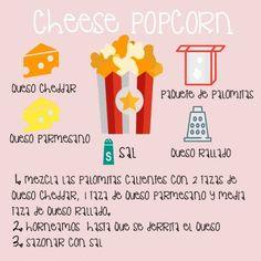 Disfruta este finde de una peli con amigos y unas pop corns con queso cheddar. #recetas #5Cook #5ingredientes #palomitas