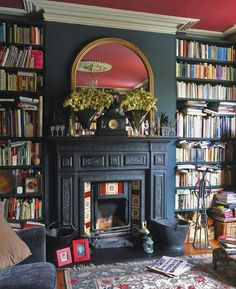 manteau foyer noir bibliothèque