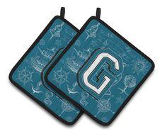 Letter G Sea Doodles Initial Alphabet Pair of Pot Holders CJ2014-GPTHD