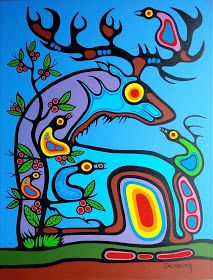 Mark Anthony Jacobson - Elk Medicine Spiritual Relationships with the Environment Native Art, Native American Art, Woodland Art, Arte Tribal, Haida Art, Westerns, Inuit Art, Spirited Art, Aboriginal Art