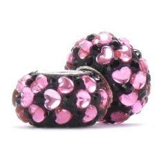 Set of 2 - Bella Fascini Sweethearts Crystal Pave Beads - Black Crystal Pave with Pink Hearts - Solid .925 Sterling Silver Core European Charm Bead Made with Authentic Swarovski Crystals - Compatible Brand Bracelets : Authentic Pandora, Chamilia, Moress, Troll, Ohm, Zable, Biagi, Kay's Charmed Memories, Kohl's, Persona & more!