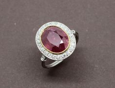 Bague Rubis Diamants Platine et Or