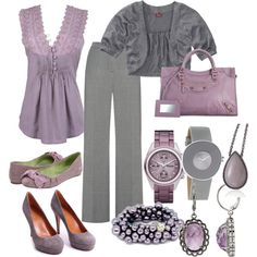 Love the pretty feminine top, pants, flats and short sweater! Colors too!