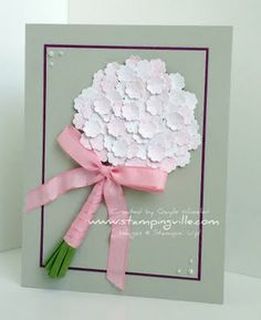 handmade greeting card ... wedding bouquet with ribbon wrapped stems and dozens of white punched flowers .. gray base ... great card!!