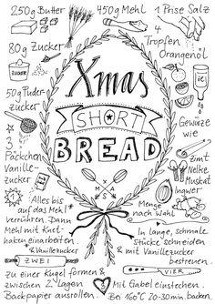 """Weihnachtliches Shortbread – in der Post und auf dem Teller (Rezept-Doodle-Weihnachtskarten-Freebie) – © """"Fee ist mein Name"""""""
