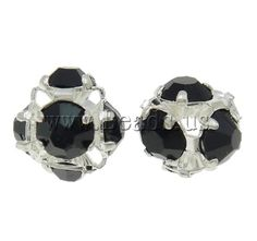 Brass Jewelry Finding, silver color plated, with rhinestone & hollow, nickel****0,05/ $0,04