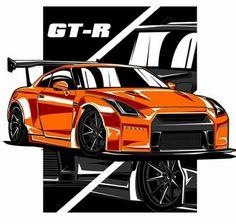 Nissan R35 GT-R Tuner Cars, Jdm Cars, Jdm Wallpaper, Nissan Gtr R35, Street Racing Cars, Car Illustration, Japan Cars, Car Posters, Chevy