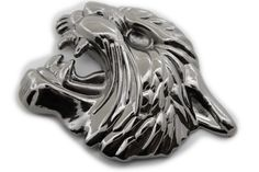 Men Women Dark Silver Gunmetal Metal Belt Buckle Big Tiger Leopard Head Animal