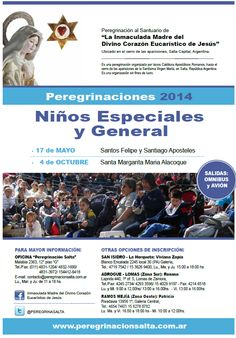 #Peregrinaciones Niños Especiales y General 2014 17Mayo  Santos Felipe y Santiago  4Octubre Santa María Alacoque pic.twitter.com/XL5EYTB990