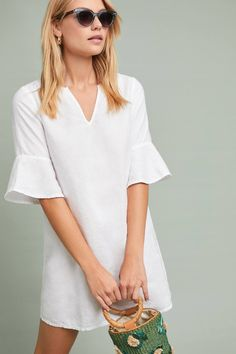 4d910a357dde Michael Stars V-Neck Shift Dress in White| Anthropologie Jumpsuit Dress,  New Outfits