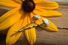 White Howlite Hair Pins Quantity of 2 by DejaVuDesignz2 on Etsy