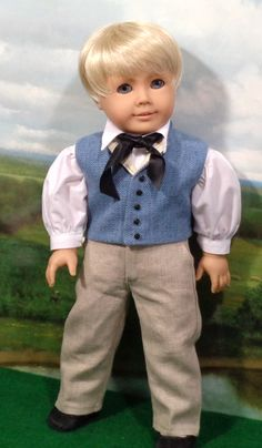 Your place to buy and sell all things handmade Boys Vest Outfit, Vest Outfits, Boy Doll Clothes, Doll Clothes Patterns, Doll Patterns, American Boy Doll, 18 Inch Boy Doll, Make A Tie, Girl Dolls