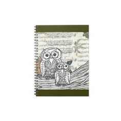 Owls 22 Notebook  A print from an original, mixed media, owl drawing scanned on to found paper. A great gift idea for owl lovers.
