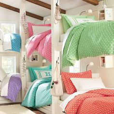 Girls and boys room for lots of kids color coded so smart