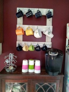 mug rack made from small pallet.