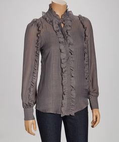 Take a look at this Dark Gray Ruffle Button-Up on zulily today!