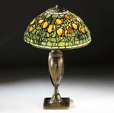 Bronze Lamp with Leaded Glass Shade. Tiffany Stained Glass, Stained Glass Lamps, Tiffany Glass, Louis Comfort Tiffany, Leaded Glass Windows, Tiffany Art, Chandelier Lighting, Chandeliers, Glass Art
