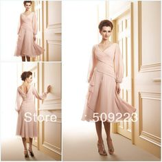 Distinctive champagne Mid Calf length A-line chiffon pleating v-back zipper tea length mother of the bride dresses with sleeve $105.00