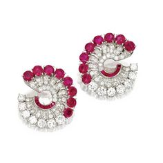 Pair of Platinum, Ruby and Diamond Earclips, Circa 1935